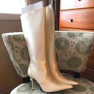 Pearl White Knee-High Boots - Size 9.5